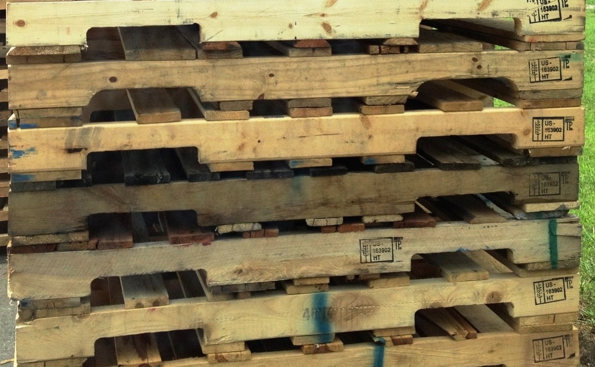 recycled wooden pallets stack